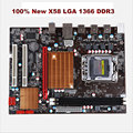 100% new X58 original motherboard LGA 1366 DDR3 boards for i3 i5 i7 cpu SATAII USB2.0 16GB X58 desktop motherboard Free shipping