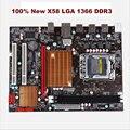 100% novas placas para i3 LGA 1366 DDR3 X58 motherboard original i5 i7 cpu SATAII USB2.0 16 GB X58 desktop motherboard Frete grátis