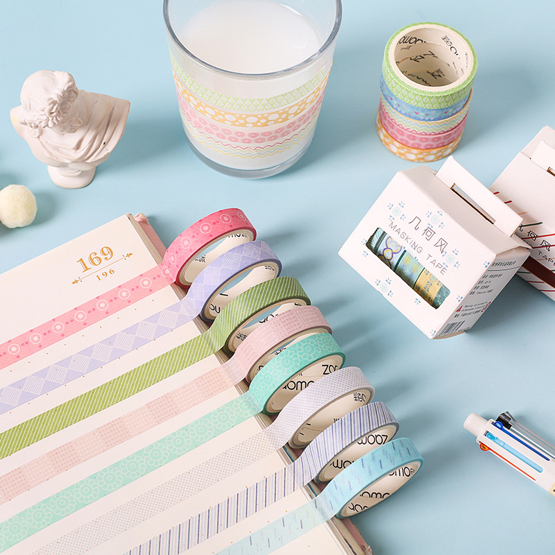 5 Pcs/pack Geometric Grid Series Kawaii Planner Handbook Decorative Paper Washi Masking Tape Set School Art Supplies Stationery