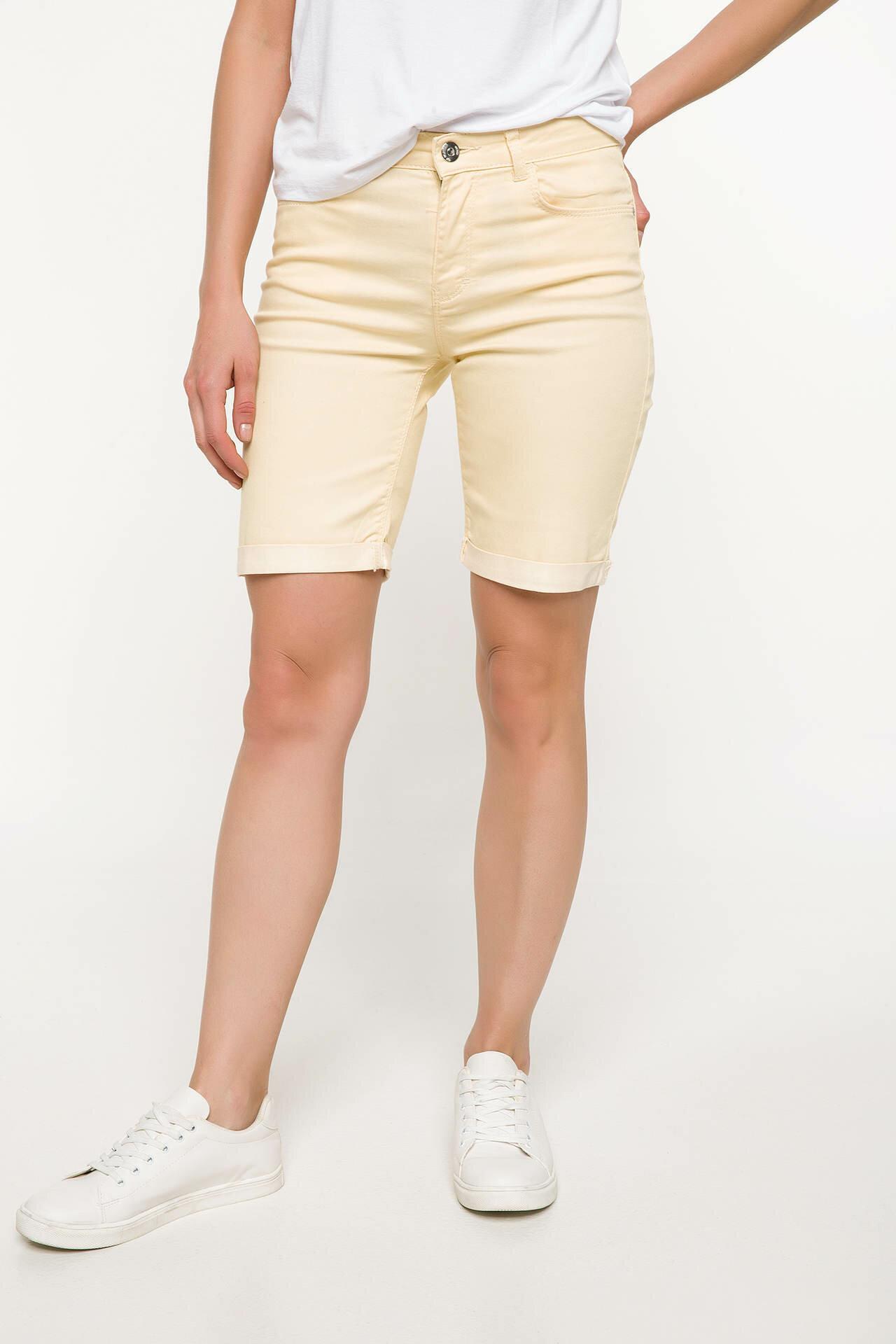Defacto Cotton Shorts Bermuda Summer Skinny-Woven Yellow Casual Woman Light I4257AZ18SMYL79