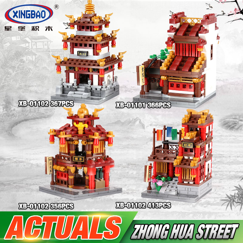 XingBao 01102 Genuine 1502Pcs Zhong Hua Street Series The Teahouse Library Cloth House Wangjiang Tower Set Building Blocks Brick xingbao 01102 new zhong hua street series the teahouse library cloth house wangjiang tower set building blocks brick christmas