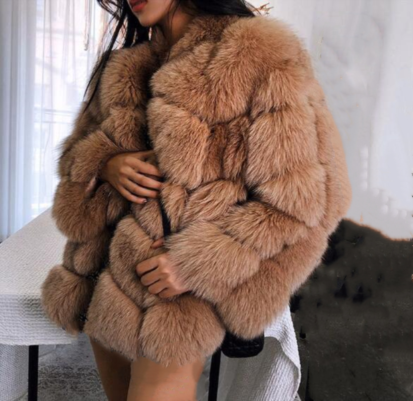 US $52.47 29% OFF|Lisa Colly Fake fur winter Women faux fur coat Jacket long section Warm fox fur coat Overcoat Thick furs coat Jacket outwear in Faux
