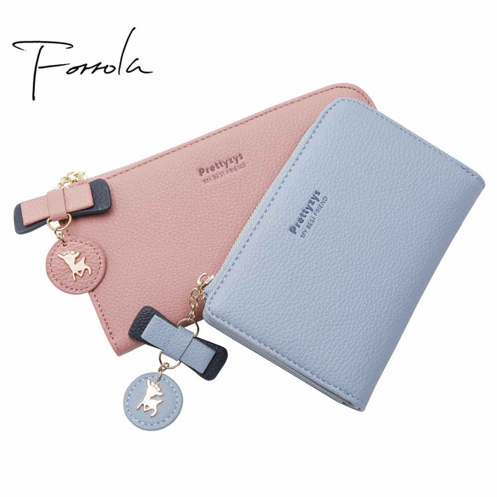 3 Size Brand Lovely Deer Women Leather Zipper Wallet Fashion Portable Multifunction Long Change Purse Coin Purses Card Holders fashion girl change clasp purse money coin purse portable multifunction long female clutch travel wallet portefeuille femme cuir