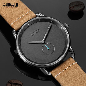 Image 4 - BAOGELA Mens Premium Simple Quartz Watches Casual Leather Strap Minimalism Waterproof Wristwatch for Man 1806Light Brown