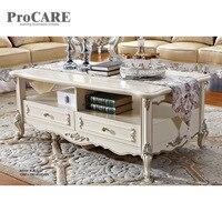 Роскошные Античное золото листьев деревянный центр стол журнальный столик конструкции-8009
