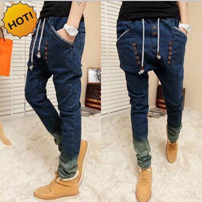 Fashion Double-breasted Loose Large Crotch Drawstring Gradient Leg Hip Hop Men Harem Pants Teenagers Light Blue 28-34 Bottoms