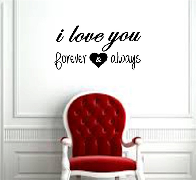 Yingkai Romantic I Love You Forever And Always Wall Decal Quote