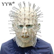 Man White Latex Masks Full Of Nails Scary Mask Halloween Realistic Props Mascaras Horror Masque Terror Party Masker
