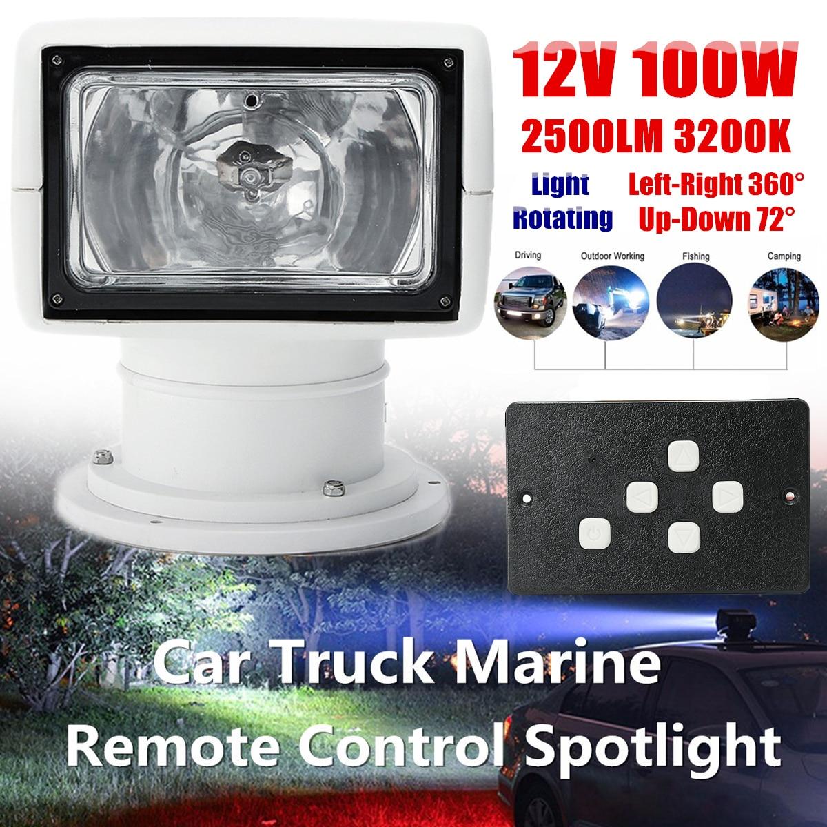 12 v 100 w 2500LM Bateau Camion Voiture Projecteur 3200 k PC + Aluminium Projecteur Marin Ampoule Télécommande multi-angles Blanc