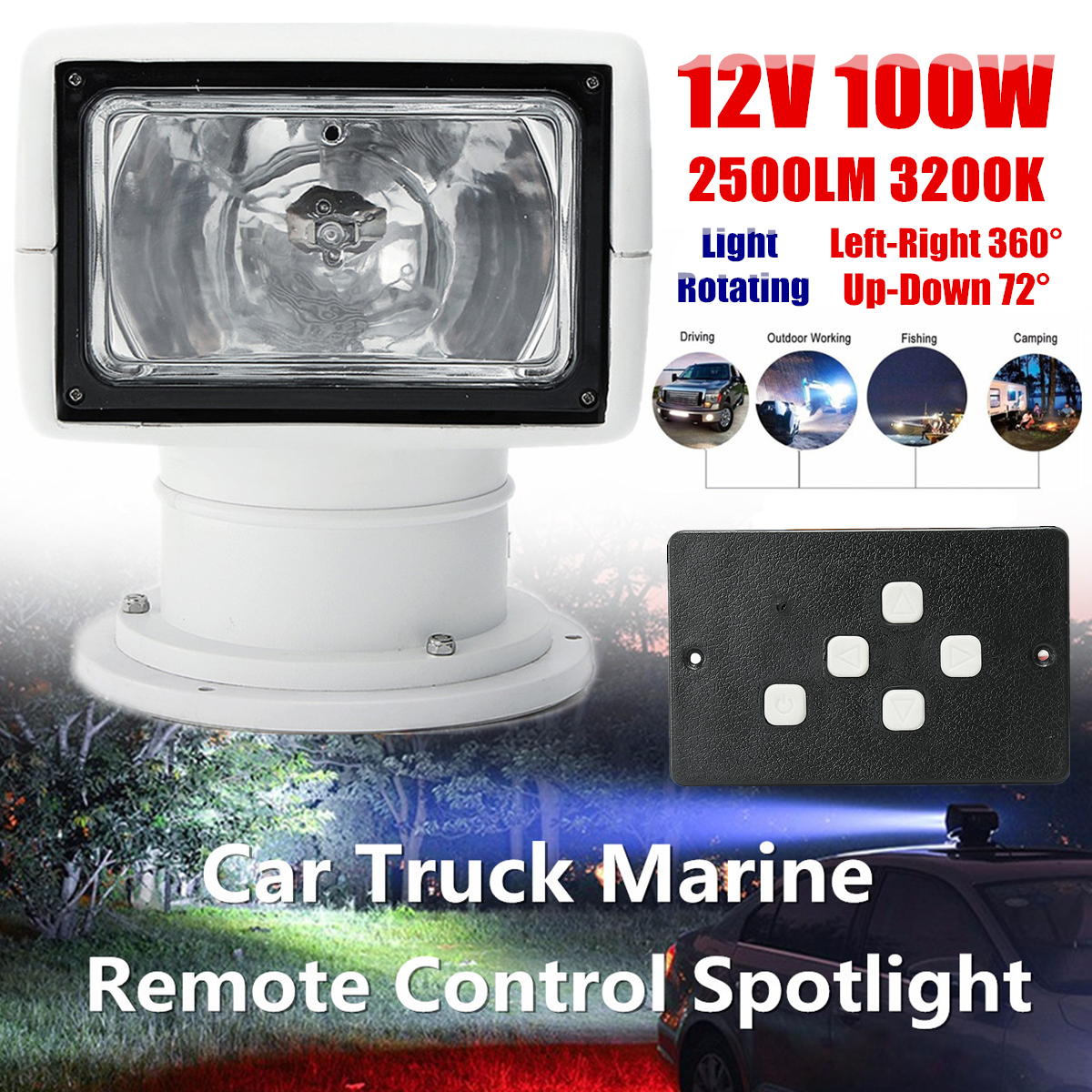 12V 100W 2500LM Boat Truck Car Spotlight 3200K PC+Aluminum Marine Searchlight Light Bulb Remote Control Multi-angled White marine boat spotlight remote control searchlight truck car rv 24v 100w bulb