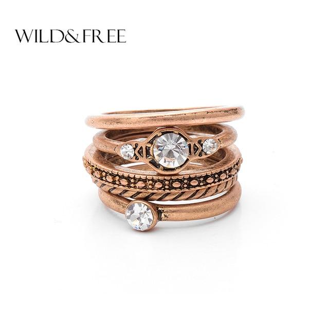 Aliexpress Buy 5 pcs Vintage Antique Gold Ring Set For Women