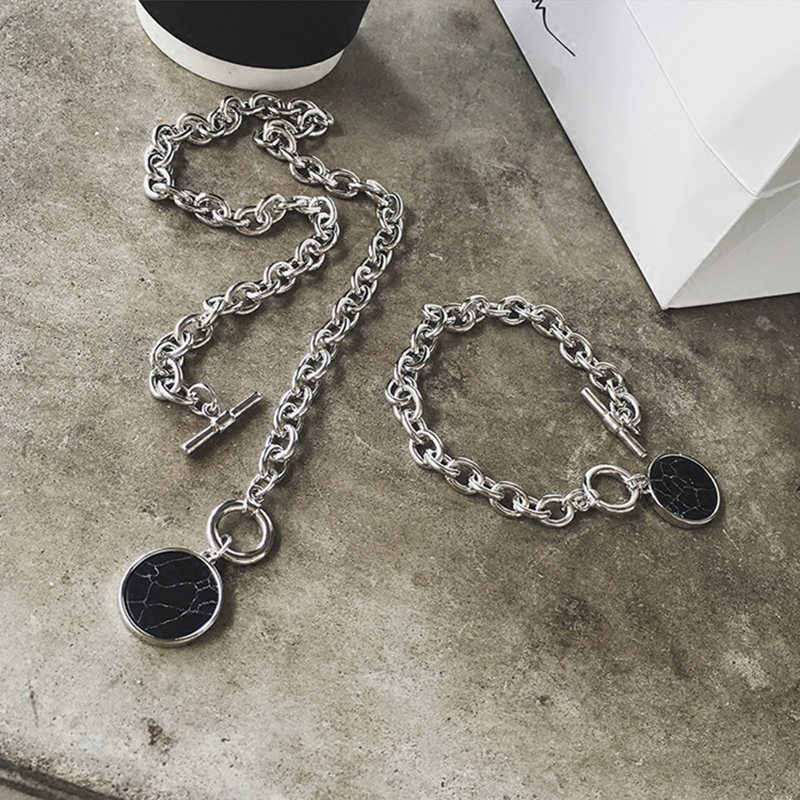 HRYVG casual silver chain bracelet necklace marble pendant female fashion jewelry clothing accessories necklace bracelet