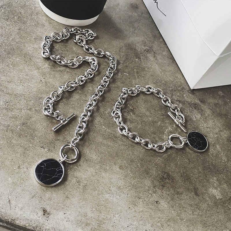 HRYVG na co dzień srebro bransoletki i łańcuszki na rękę naszyjnik marmurowy wisiorek kobiet moda biżuteria odzież akcesoria naszyjnik bransoletka