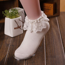 1 par de calcetines a la moda de princesa para chicas lindas y dulces Encaje Vintage con pliegues y cómodos hasta el tobillo en 7 colores