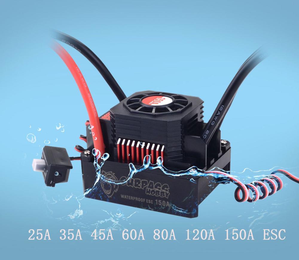 Controlador de Velocidade Brushless à prova d' água Sem Sentido 45A 60A 80A 120A 150A ESC e LEVOU Cartão De Programação para 1/8 1/10 1/12 1/20 carro Do RC