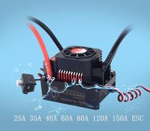 все цены на Waterproof Brushless Senseless Speed Controller 45A 60A 80A 120A 150A ESC and LED Programing Card for 1/8 1/10 1/12 1/20  RC Car онлайн