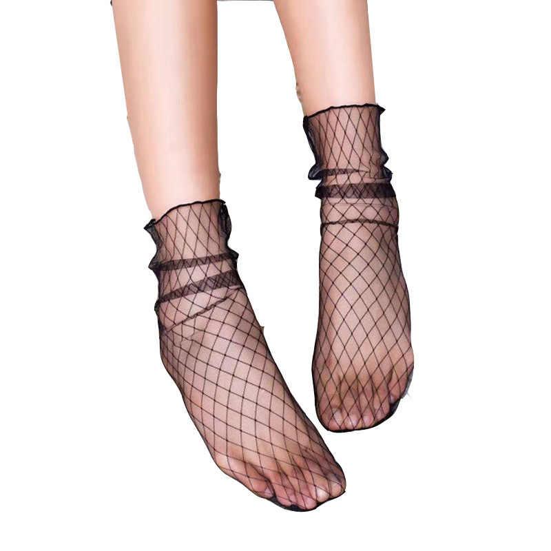 2018 gran oferta nueva moda Sexy niñas, mujeres, señoras negro suave encaje malla pura suelta tobillo corto novedad vestido Calcetines