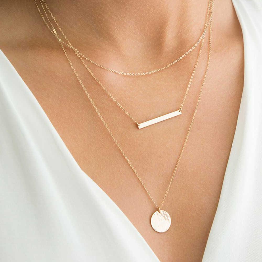 E-manco Trendy wielowarstwowy naszyjnik ze stali nierdzewnej dla kobiet choker komunikat naszyjnik geometryczne wisiorki naszyjnik