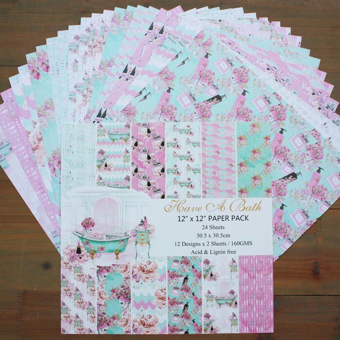 DIY Album Photo Scrapbooking set  Family Bath Series Pattern Paper set  Home decor   12 X 12  Single Side Printed 24 pcs/Set