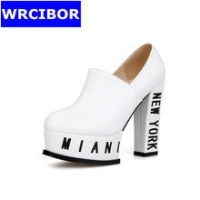 12CM NEW 2017 Women Shoes Pumps Genuine leather Round toe High heels Lady  Platform Thick Heels high-heeled Shoes Women