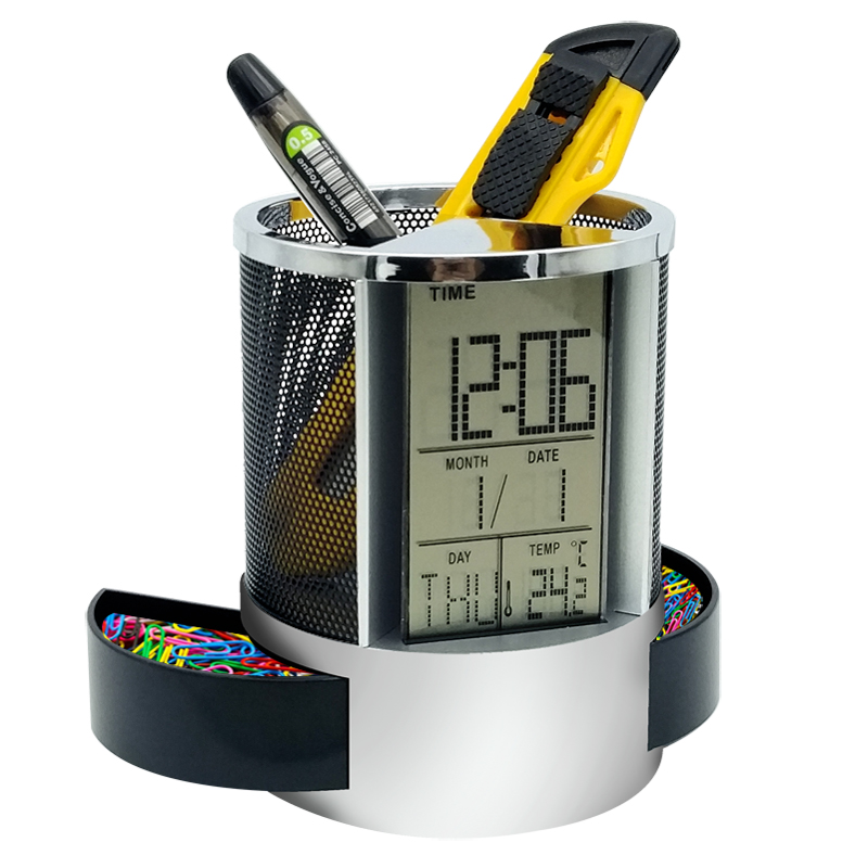 1 Pc/Box Multi-functional Digital 24-Hour-Displayed Pen Holder with Alarm Clock & Temperature & Date for School and Office1 Pc/Box Multi-functional Digital 24-Hour-Displayed Pen Holder with Alarm Clock & Temperature & Date for School and Office