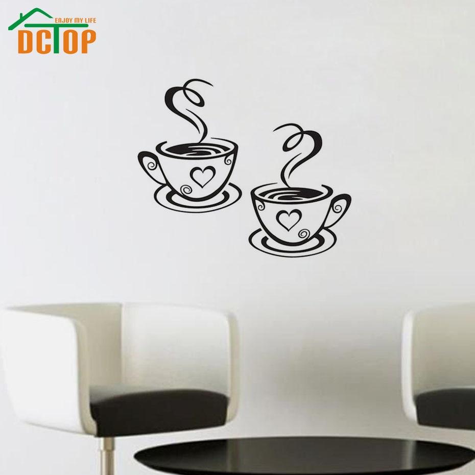 Dubbele koffiekopjes Muurstickers voor de woonkamer Vinyl zelfklevende muurdecoraties Koffie winkel Keuken Woonaccessoires