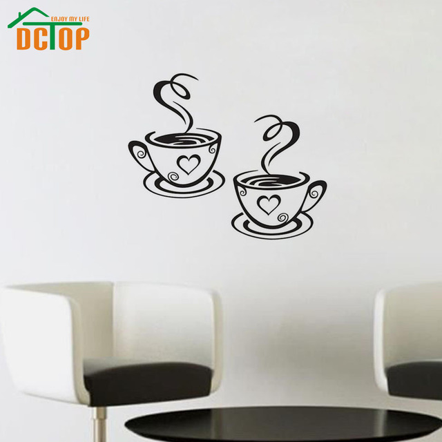 Double Coffee Cups Wall Stickers For Living Room Vinyl Adhesive Art Wall Decals Coffee Shop Kitchen Home Decoration Accessories