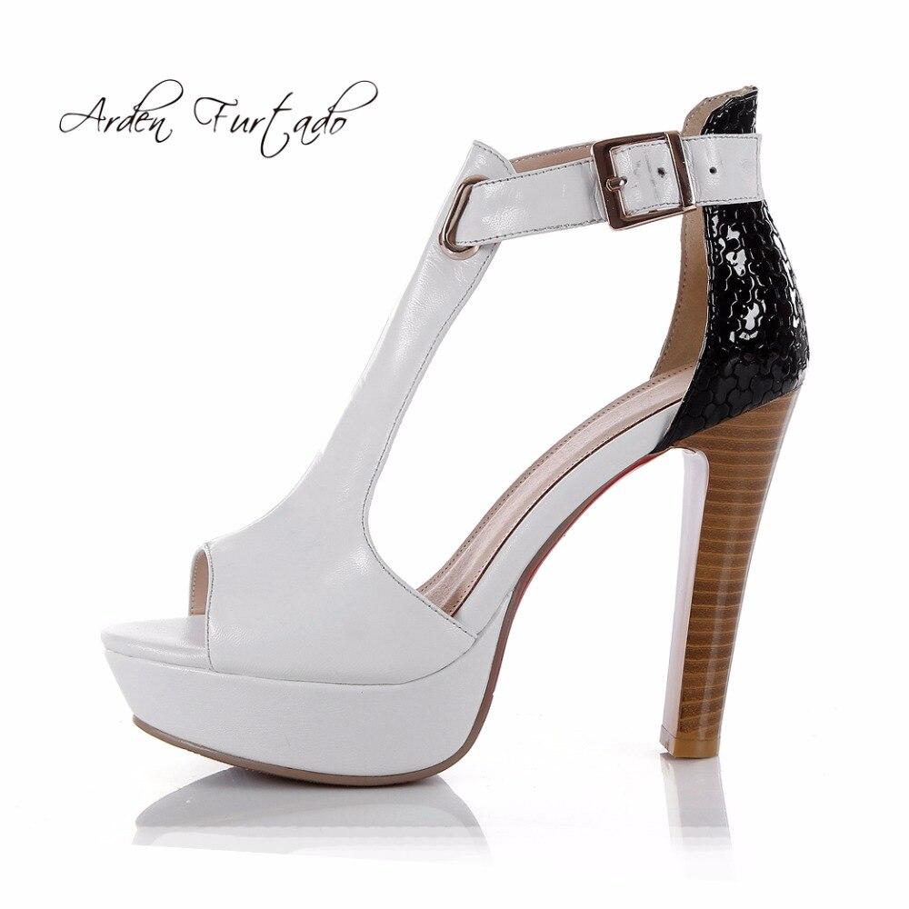 Arden Furtado 2018 d'été haute talons plate forme T stap véritable en cuir véritable en cuir sandales chaussures femme dames petite taille 30 31-in Sandales femme from Chaussures    1