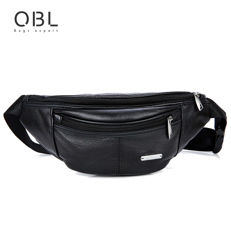 QiBoLu tehén valódi bőr övcsomag Fanny Pack Bum övtáska férfi - Derék csomagok