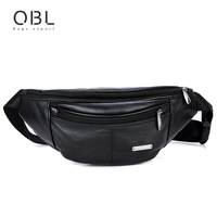 QiBoLu Cow Genuine Leather Waist Pack Fanny Pack Bum Belt Bag Men Pouch Pochetes Bolso Cintura