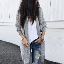 2019 Elastic Plaid Knitting Long Cardigan Women Spring Sweater Knitted Cardigans Female Soft Casual Outwear Pull Jumper
