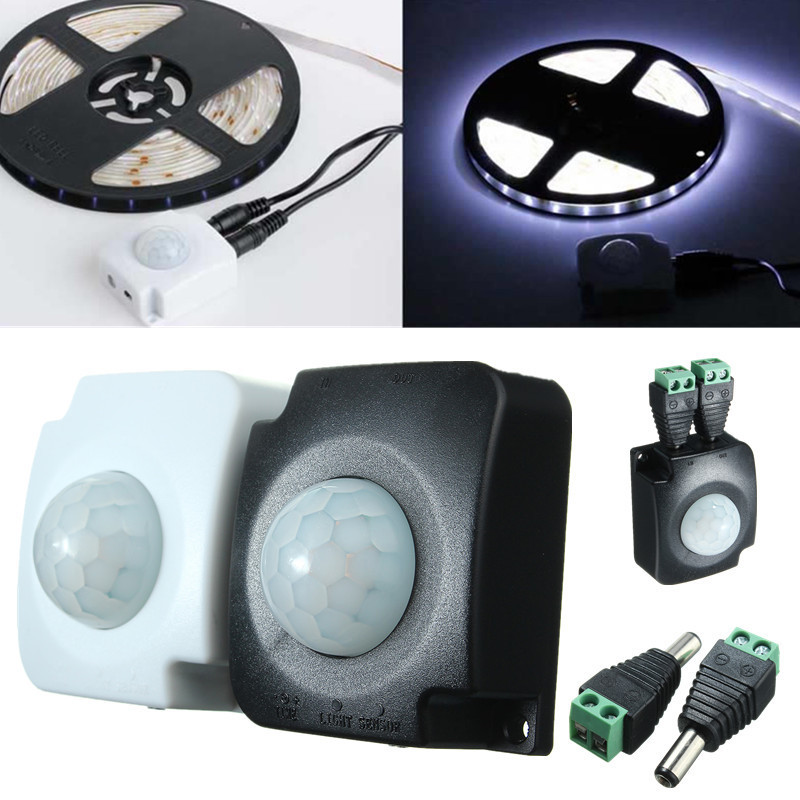 10A Automatic Detector Infrared PIR Motion Sensor Switch Accessories For LED Strip Light Adjustable delay Time With 2 Male 5-30V10A Automatic Detector Infrared PIR Motion Sensor Switch Accessories For LED Strip Light Adjustable delay Time With 2 Male 5-30V