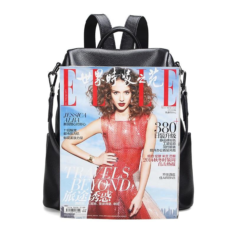 ZENCY 100% Real Genuine Cowhide Leather Women's Backpacks Designer Female Girl Lady Backpack Cowhide White Silver Gray Book  Bag