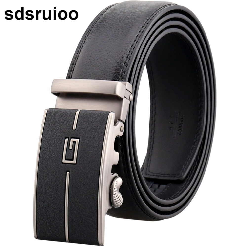 Fashion Leather Alloy Strap Men/'s Automatic Buckle Waistband Belt
