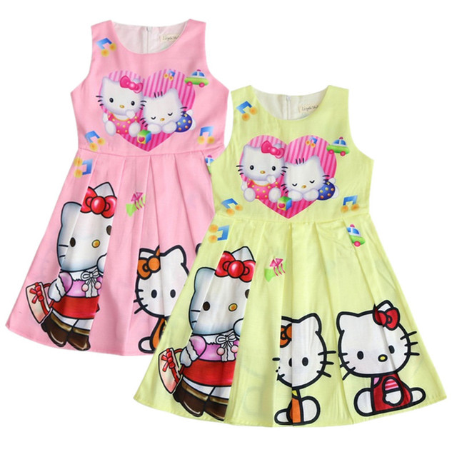 d074afe90 2018 New Summer Hello Kitty Baby Girls Dress Sofia Vestidos Dress Princess  Little Kids Clothes Children Pony Party Dresses 3-10Y