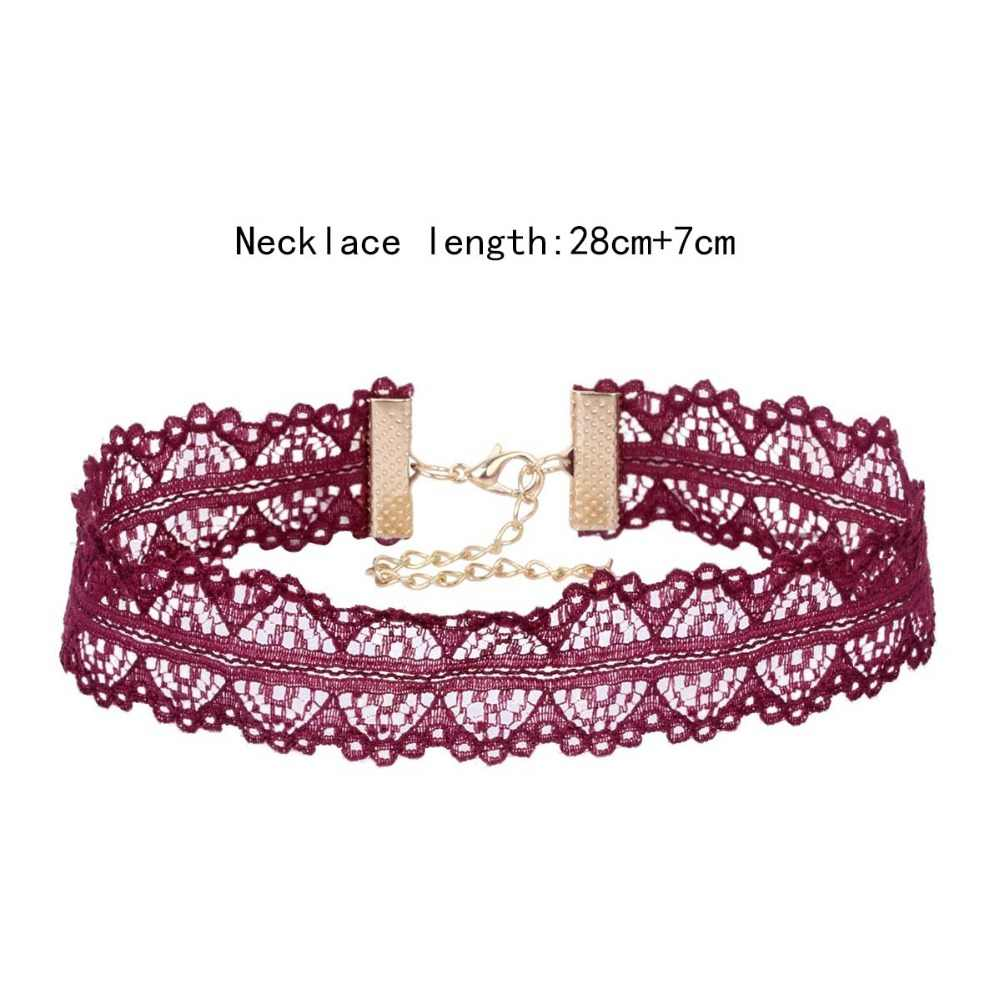 Fashion Trend Vintage Purple Lace Chokers Classic Collar Necklaces Flower Choker Necklace Adjustable Women Jewelry Gift NS3520