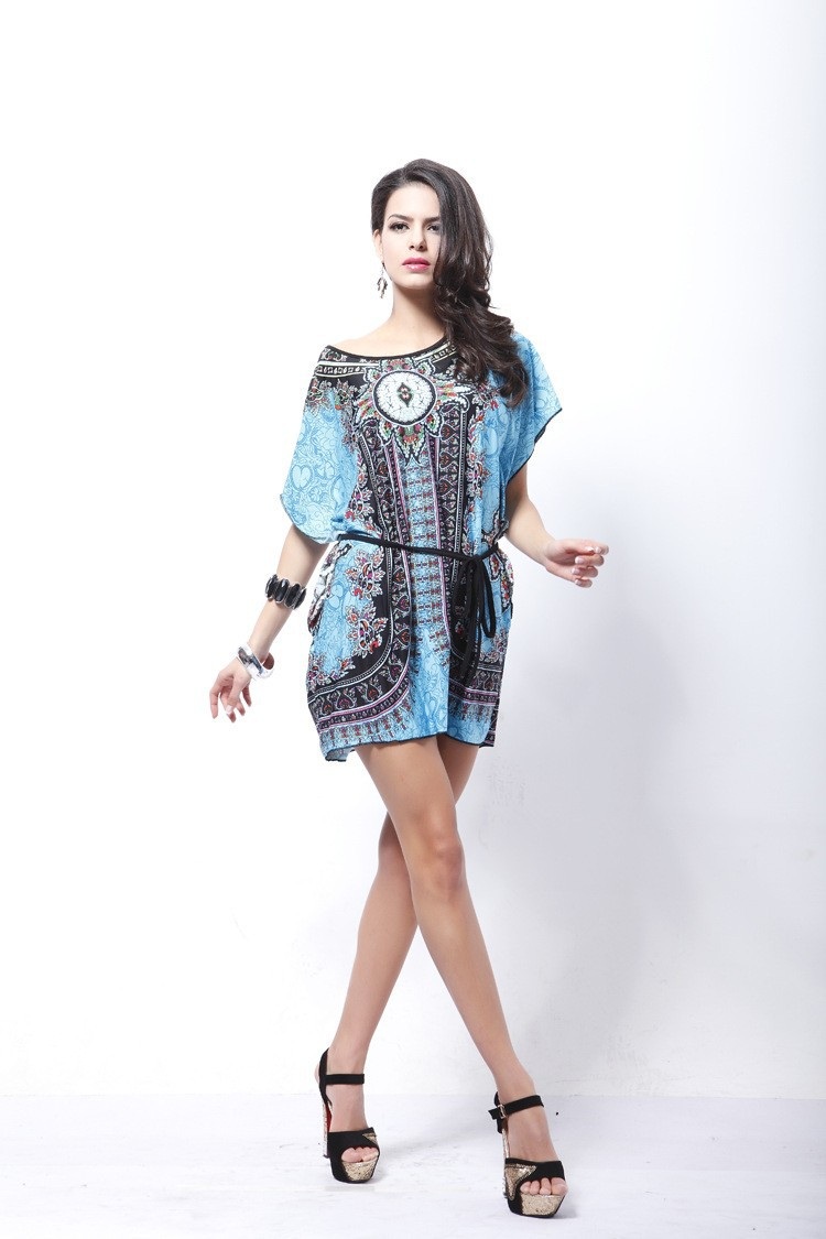 Vintage Dress 2017 New Summer Style Retro Print Boho Loose Casual Dress Bohemian Tunic Beach Dress Vestidos Plus Size Dress 12
