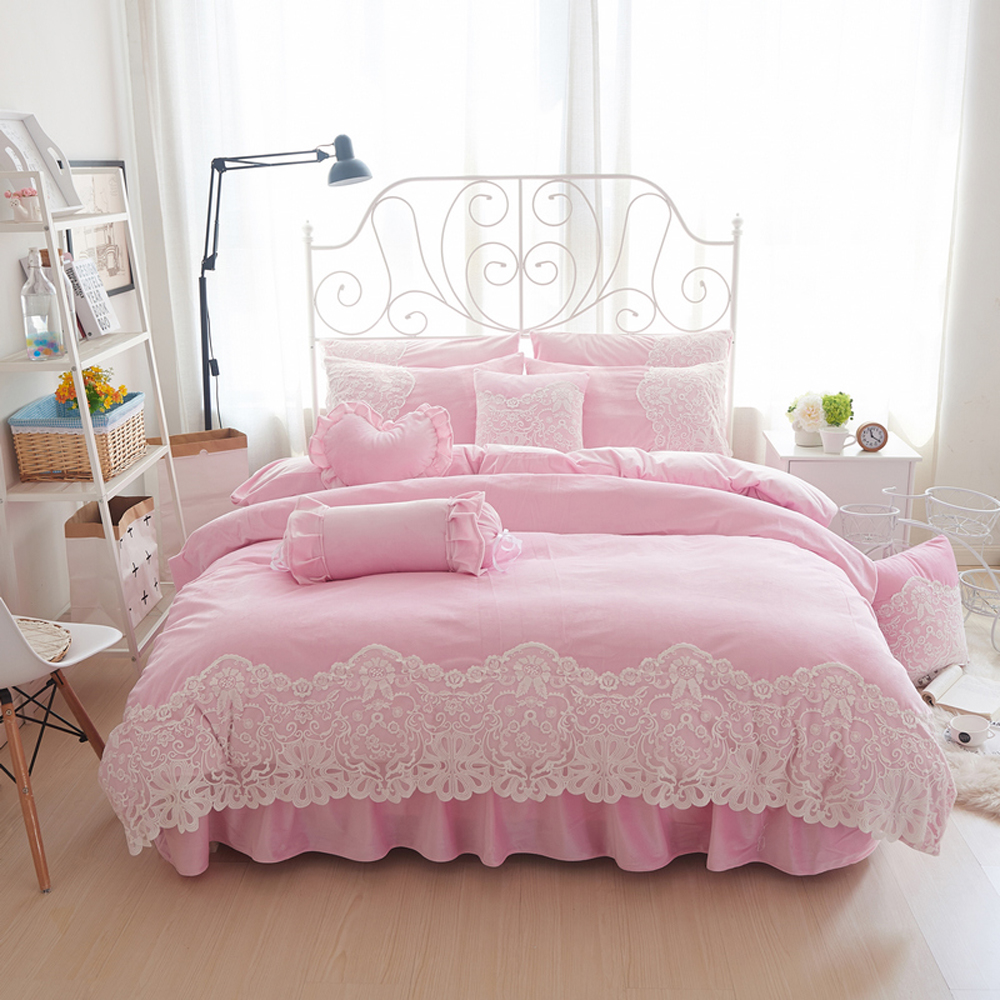 Pink bed sheet design - Korean Princess Style Flannel Fabrics Lace Solid Color Design Duvet Cover Bed Sheet Set Pink