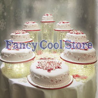 Free shipping 7pcs/set Crystal Clear Acrylic Round Cake Stand for Wedding Birthday Party Cake Display valentine's day Decoration