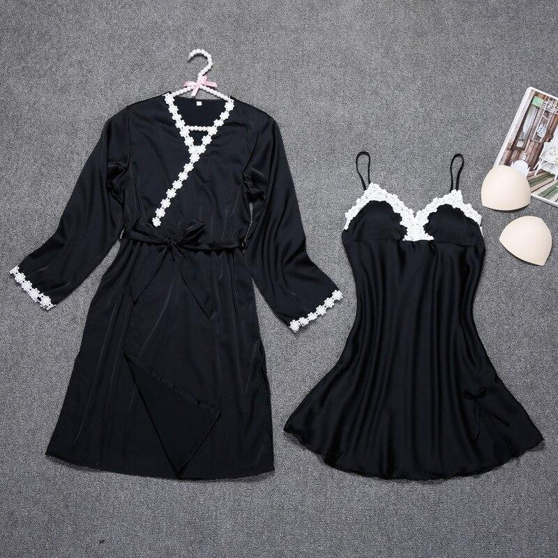 SchöN Sommer Robe Sets Frauen 2 Stück Strap Top Anzug Nachtwäsche 2019 Casual Pyjamas Hause Tragen Nachtwäsche Kimono Sexy Bad Kleid M-xxl Freigabepreis Damen-nachtwäsche