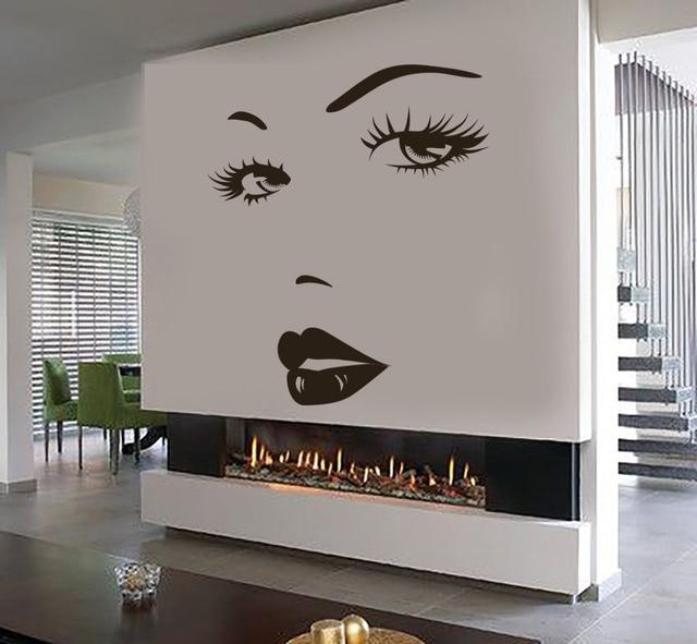 Eyes Wall Sticker Vinyl Decal Beauty Salon Woman Face Lips