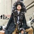 High-end Winter Down Coat Jacket Long Silver Fox Fur Collar Hooded Drawstring Real Fur Thick Brand Down Jacket Women Parkas T451