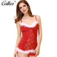 COLLEER Christmas Lingerie 2018 Fastion Underwear Sexy Women Deep V Perspective Mesh Dress Thong Red Mrs