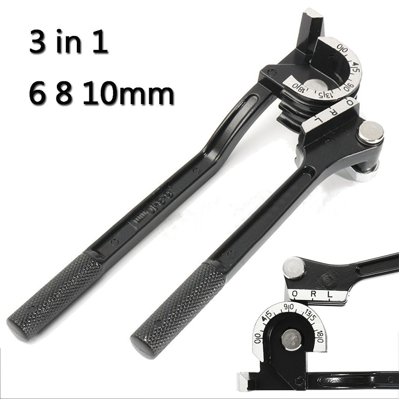 3 in 1 Aluminum Pipe Bender Black 6 8 10mm Copper Pipe Tube Bending Tool CT-369 180 Degree