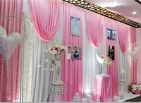 10*20ft (3m*6m width) wedding birthday party decor ice silk baby pink with swag wall hanging stage curtains backdrop