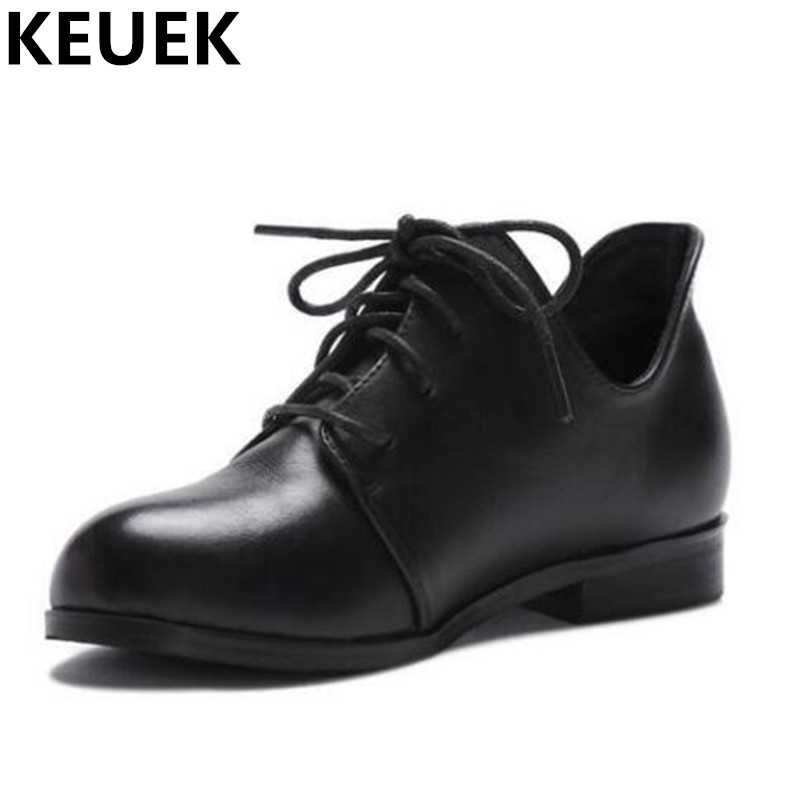 NEW Spring Autumn Genuine Leather Shoes Children Flats Lace Up Casual Single Shoes Girls Student Baby