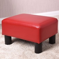 Goplus Small Ottoman Footrest PU Leather Footstool Rectangular Seat Stool Portable White Red Modern Home Sofa
