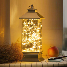 Glass Dome Night Light Bell Jar Display Wooden Base LED Warm White Light Bedside Table Lamp with Warm Fairy Starry String Lights