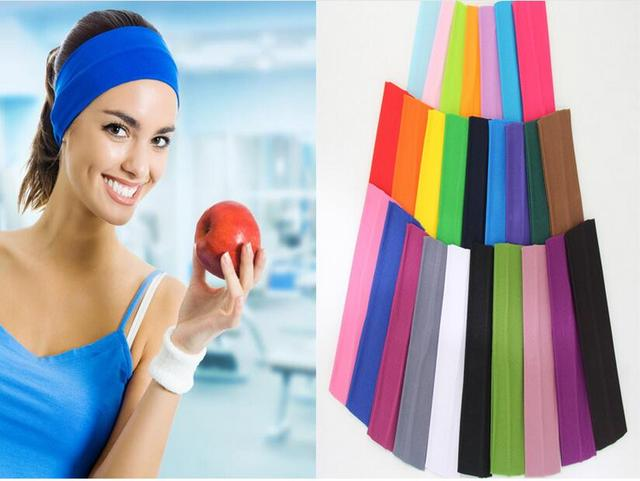 f7d0aed2fd56 12 pcs bandeau Femmes Élastique Turban Bande De Cheveux De Mode Fille sport  Bandeau diadema coloré
