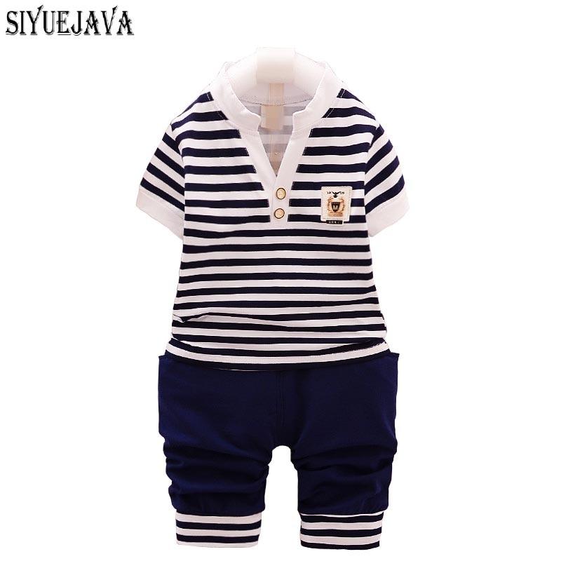 0-2Y Baby Boy odzież zestaw Toddler koszulka w paski + spodnie 2 - Odzież dla niemowląt - Zdjęcie 1